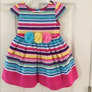 Girls 2T multi colored stripe dress with flowers